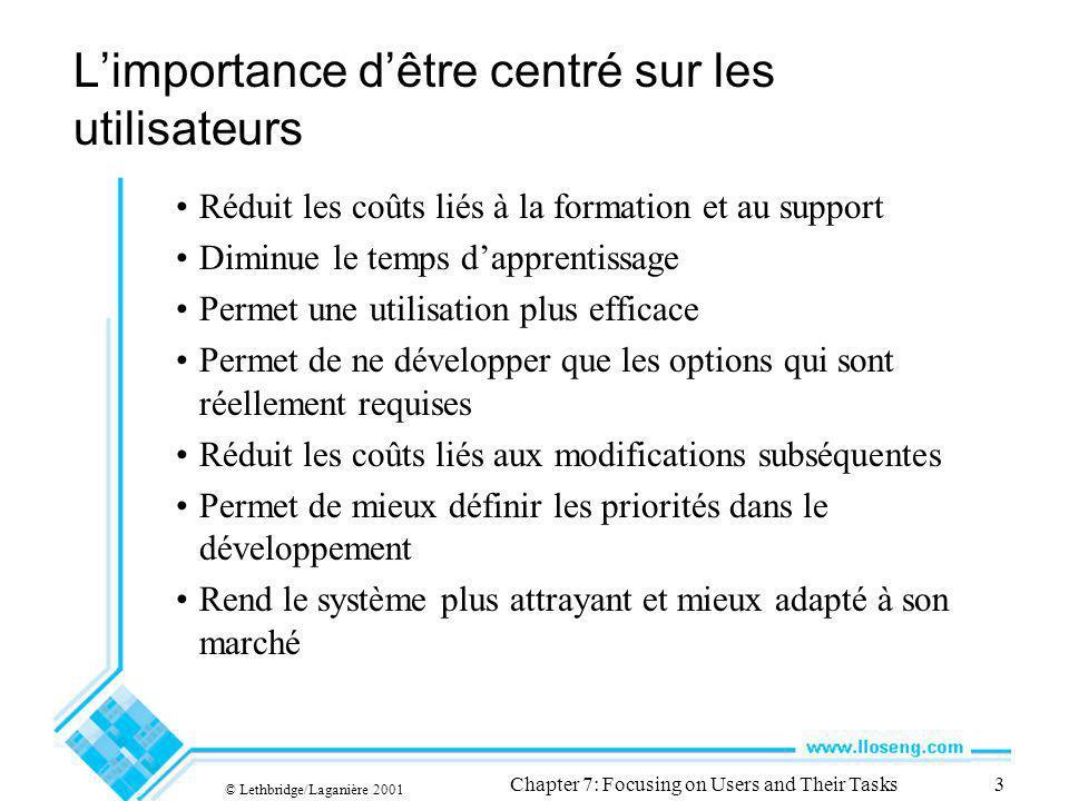 © Lethbridge/Laganière 2001 Chapter 7: Focusing on Users and Their Tasks3 Limportance dêtre centré sur les utilisateurs Réduit les coûts liés à la for