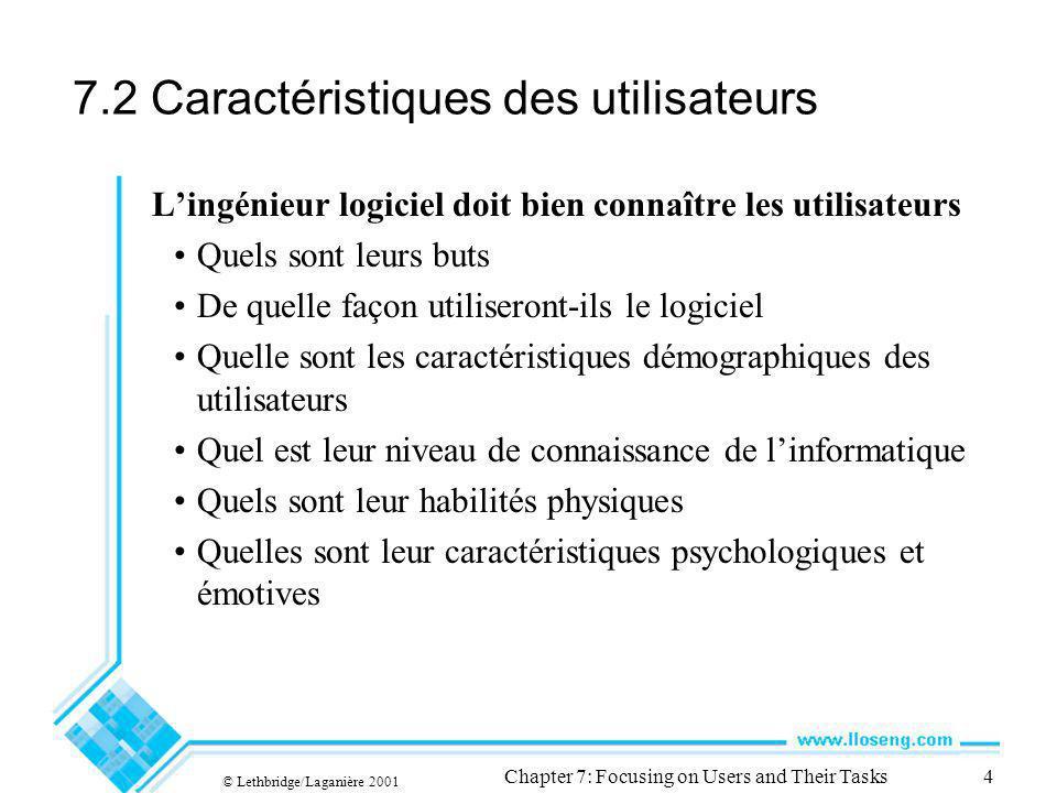 © Lethbridge/Laganière 2001 Chapter 7: Focusing on Users and Their Tasks4 7.2 Caractéristiques des utilisateurs Lingénieur logiciel doit bien connaîtr