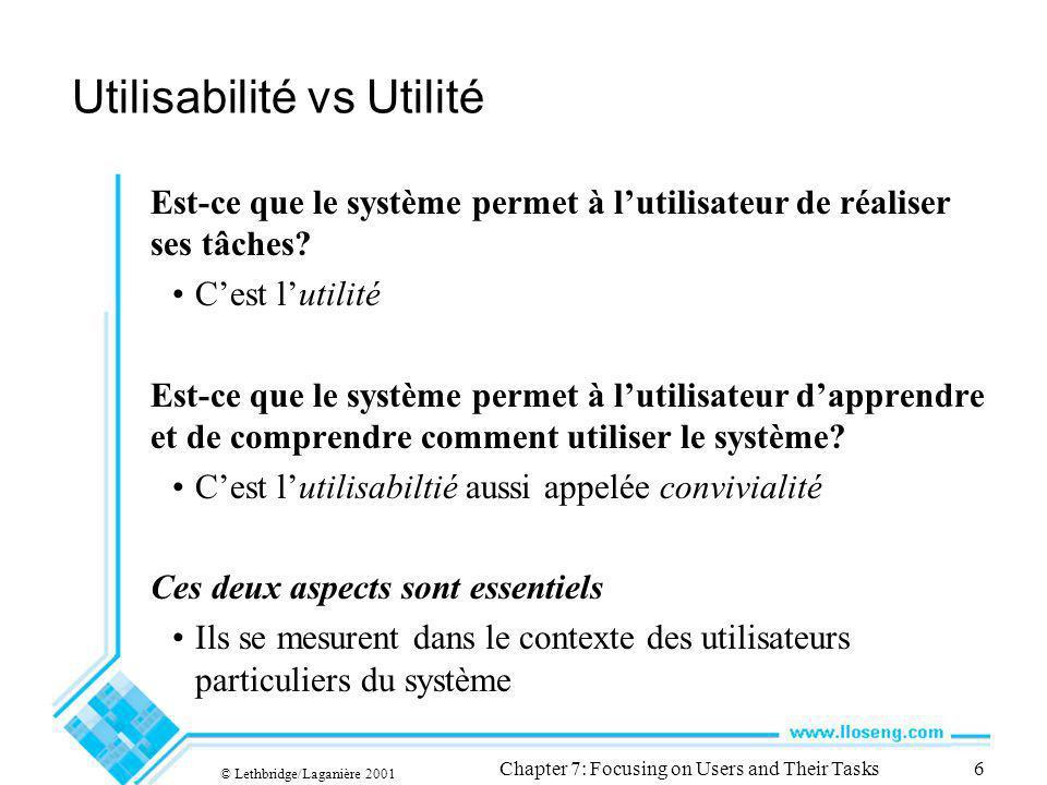 © Lethbridge/Laganière 2001 Chapter 7: Focusing on Users and Their Tasks6 Utilisabilité vs Utilité Est-ce que le système permet à lutilisateur de réaliser ses tâches.