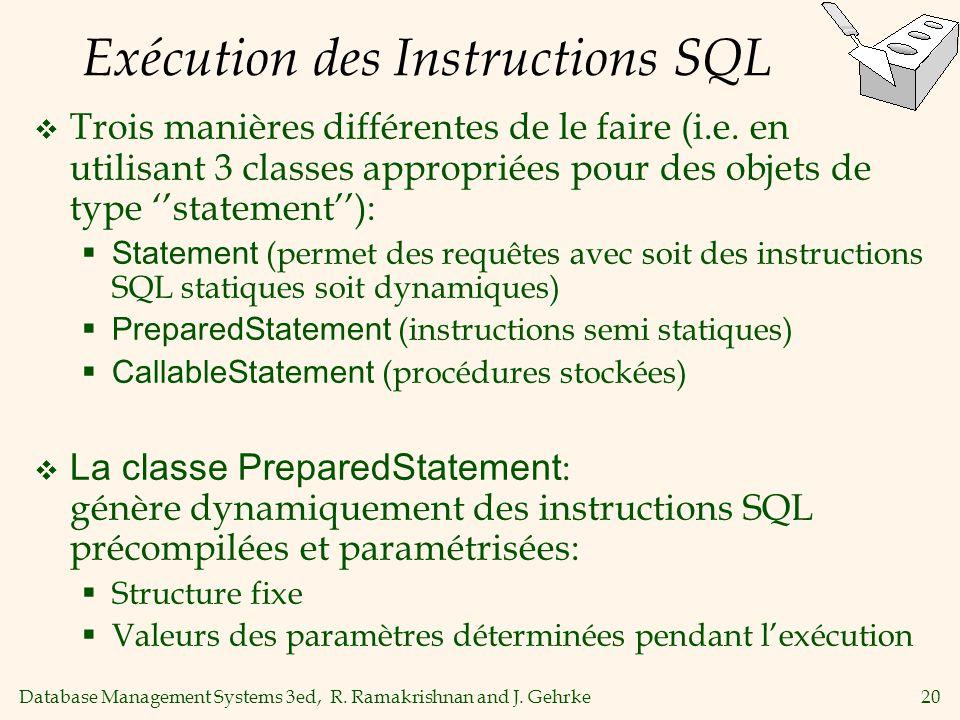 Database Management Systems 3ed, R. Ramakrishnan and J. Gehrke20 Exécution des Instructions SQL Trois manières différentes de le faire (i.e. en utilis