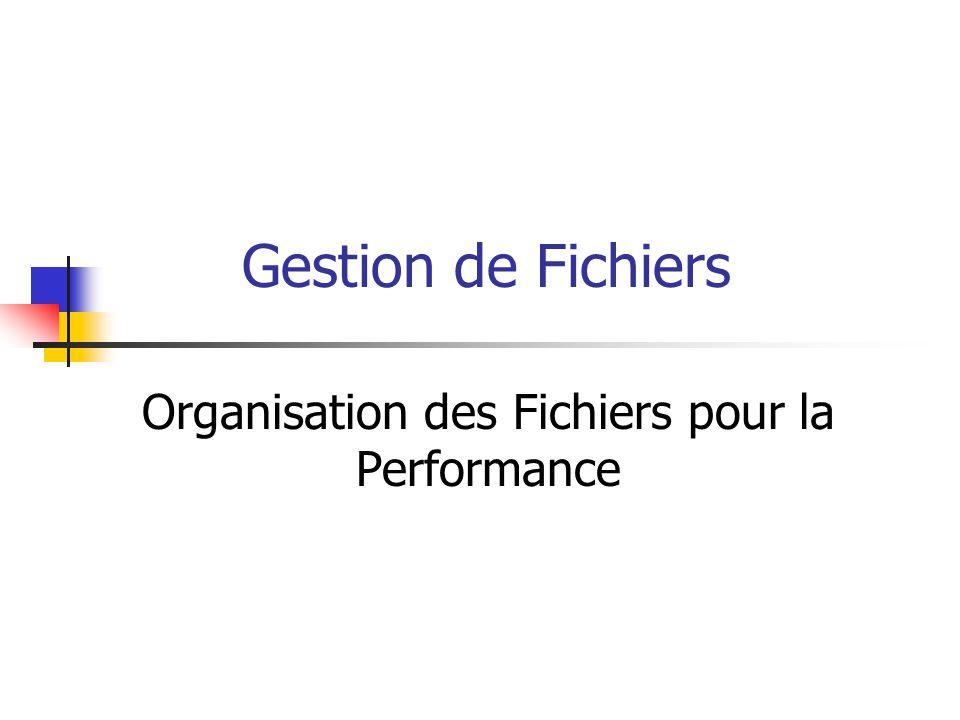 2 Motivation et plan du cours Comment organiser ou re-organiser les fichiers de manière à en améliorer la performance.