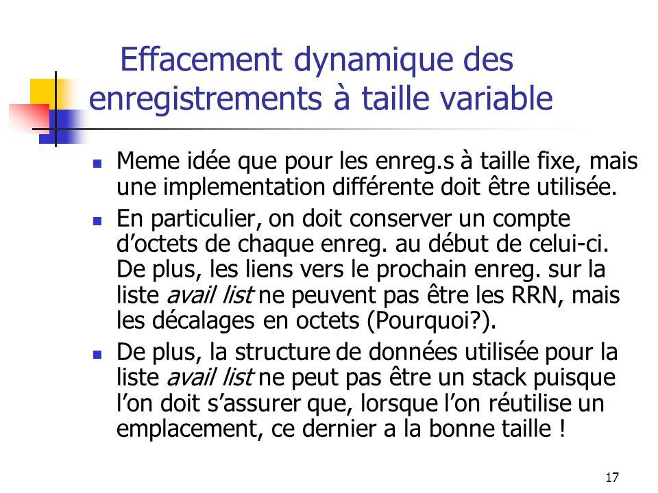 17 Effacement dynamique des enregistrements à taille variable Meme idée que pour les enreg.s à taille fixe, mais une implementation différente doit êt