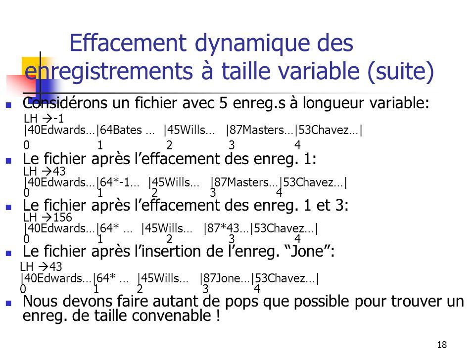 18 Effacement dynamique des enregistrements à taille variable (suite) Considérons un fichier avec 5 enreg.s à longueur variable: LH -1 |40Edwards…|64B