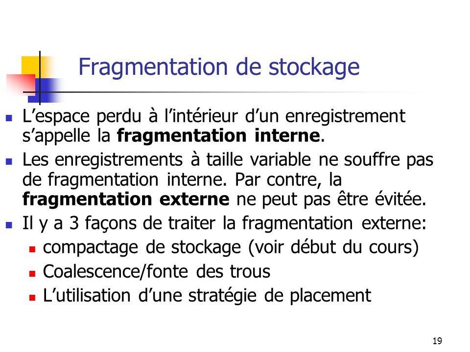 19 Fragmentation de stockage Lespace perdu à lintérieur dun enregistrement sappelle la fragmentation interne. Les enregistrements à taille variable ne