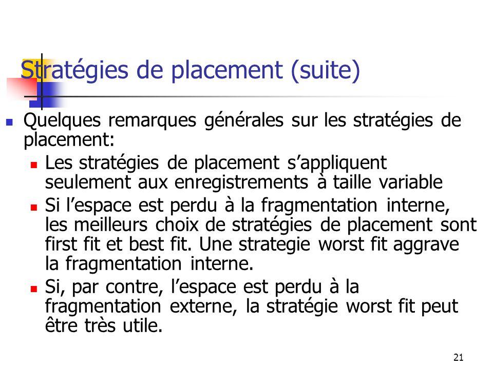 21 Stratégies de placement (suite) Quelques remarques générales sur les stratégies de placement: Les stratégies de placement sappliquent seulement aux