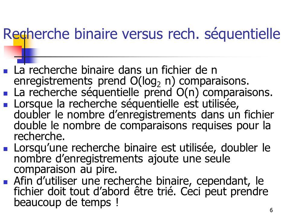 6 Recherche binaire versus rech. séquentielle La recherche binaire dans un fichier de n enregistrements prend O(log 2 n) comparaisons. La recherche sé
