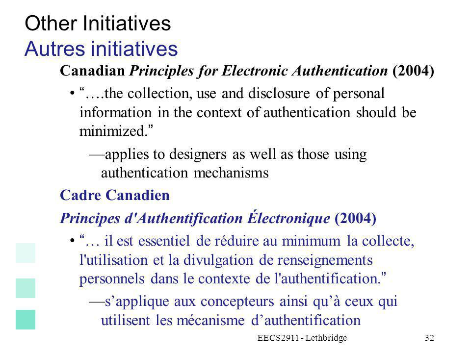EECS2911 - Lethbridge33 Breaches of privacy: News items Atteintes à la vie privée : actualités Personal health records hacked in Alberta Dossiers médicaux personnels piratés en Alberta http://www.edmontonsun.com/news/alberta/2009/07/09/10072696- sun.htmlhttp://www.edmontonsun.com/news/alberta/2009/07/09/10072696- sun.html CRTC directs phone companies to investigate released phone numbers La CRTC demande à des compagnies de téléphone denquêter sur des numéros de téléphones divulgués http://www.halifaxlive.com/index.php?option=com_content&task=view &id=179&Itemid=2 http://www.halifaxlive.com/index.php?option=com_content&task=view &id=179&Itemid=2 Passport applicant accessed information on another applicant Un demandeur de passeport peut accéder aux informations des autres candidats.