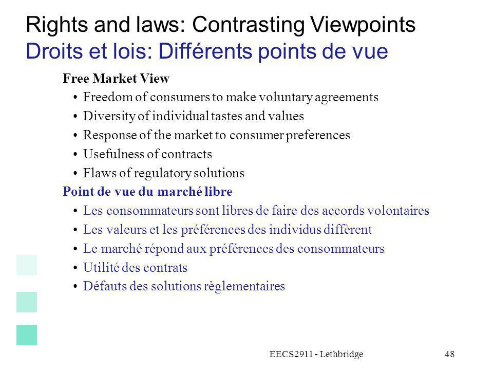 EECS2911 - Lethbridge48 Rights and laws: Contrasting Viewpoints Droits et lois: Différents points de vue Free Market View Freedom of consumers to make