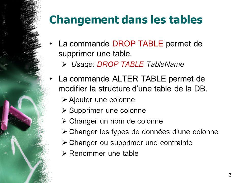 Changement dans les tables La commande DROP TABLE permet de supprimer une table. Usage: DROP TABLE TableName La commande ALTER TABLE permet de modifie