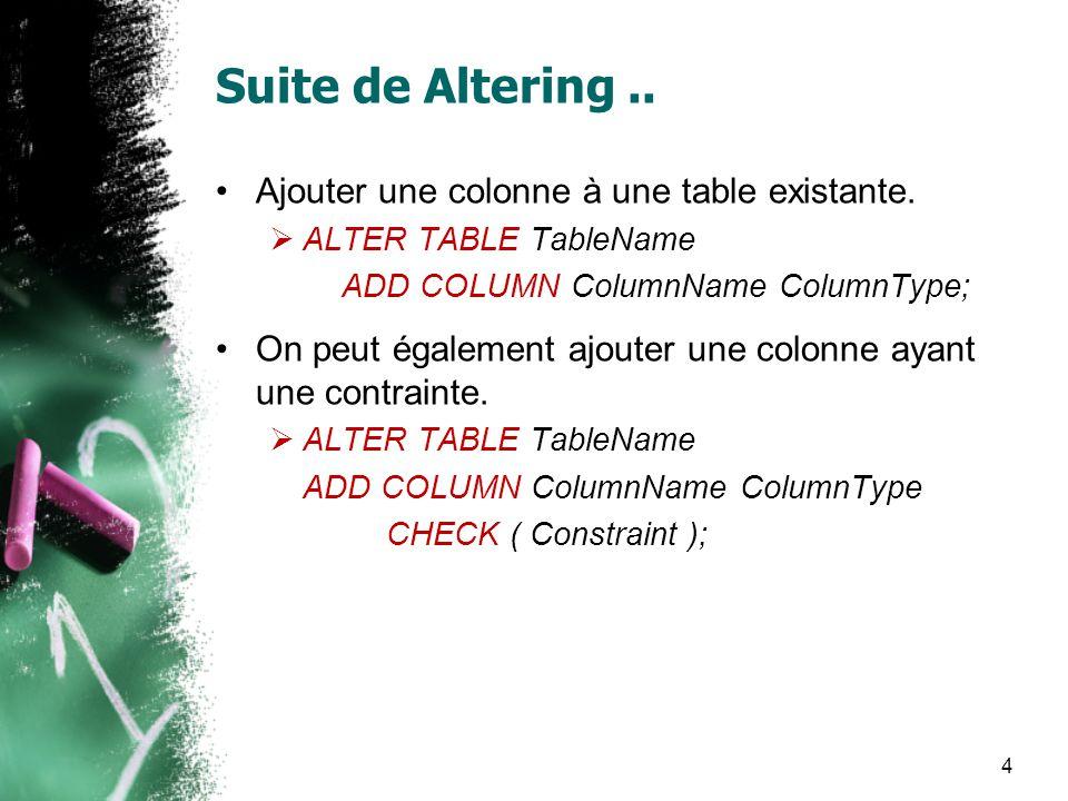Suite de Altering.. Ajouter une colonne à une table existante. ALTER TABLE TableName ADD COLUMN ColumnName ColumnType; On peut également ajouter une c