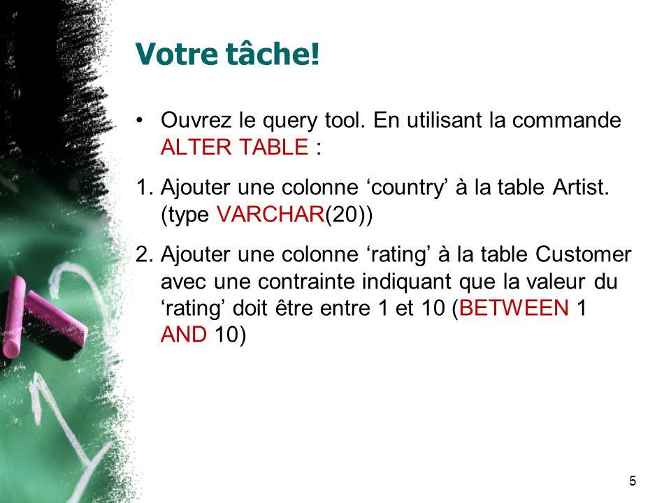 Votre tâche! Ouvrez le query tool. En utilisant la commande ALTER TABLE : 1.Ajouter une colonne country à la table Artist. (type VARCHAR(20)) 2.Ajoute