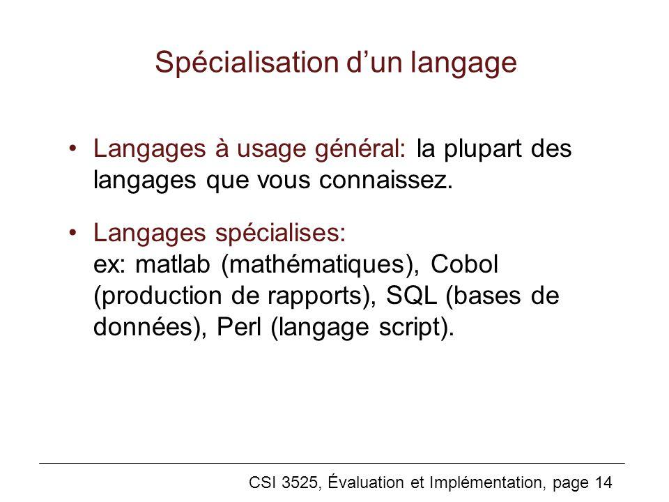 CSI 3525, Évaluation et Implémentation, page 14 Spécialisation dun langage Langages à usage général: la plupart des langages que vous connaissez.