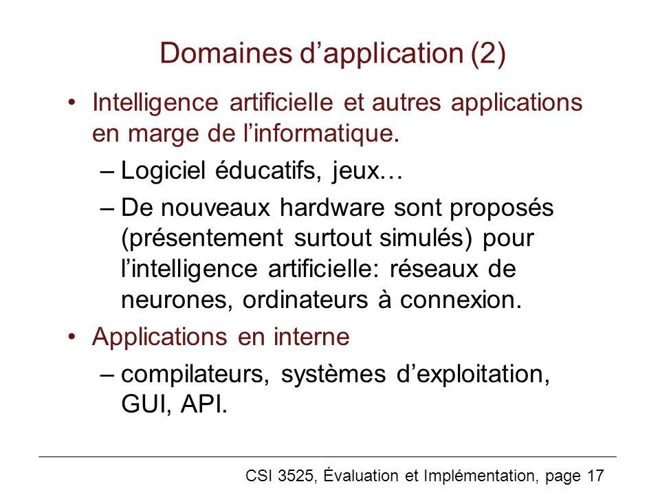 CSI 3525, Évaluation et Implémentation, page 17 Domaines dapplication (2) Intelligence artificielle et autres applications en marge de linformatique.