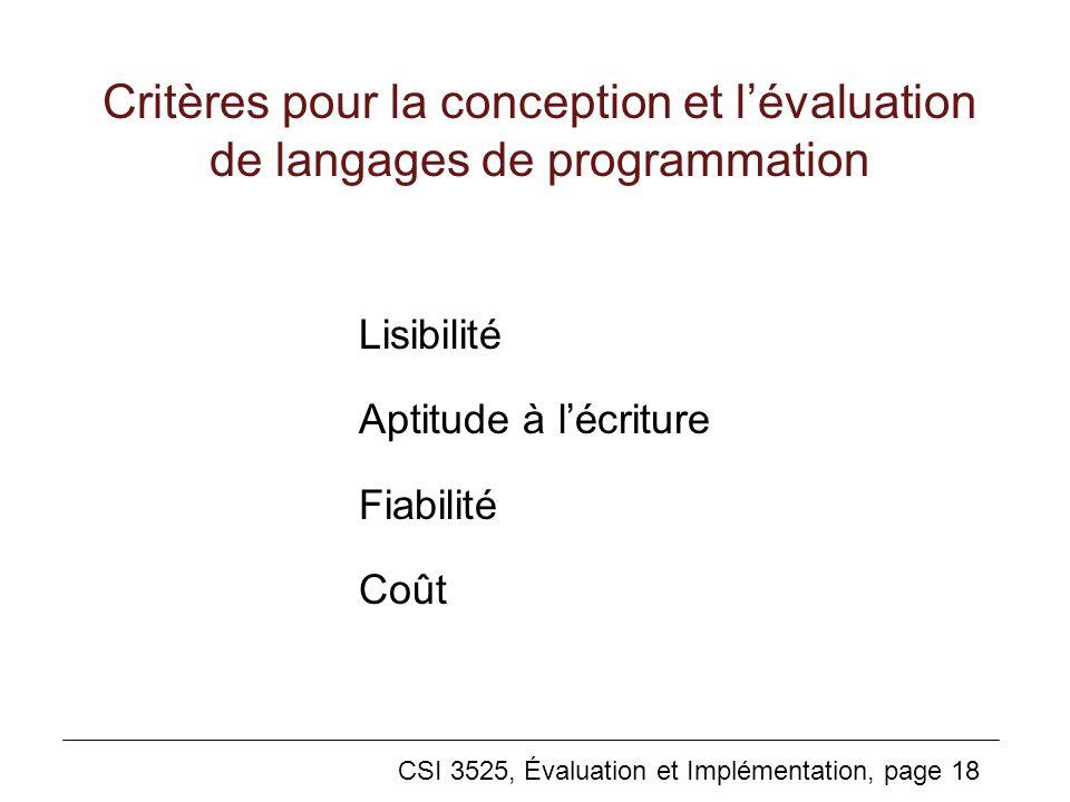 CSI 3525, Évaluation et Implémentation, page 18 Critères pour la conception et lévaluation de langages de programmation Lisibilité Aptitude à lécriture Fiabilité Coût