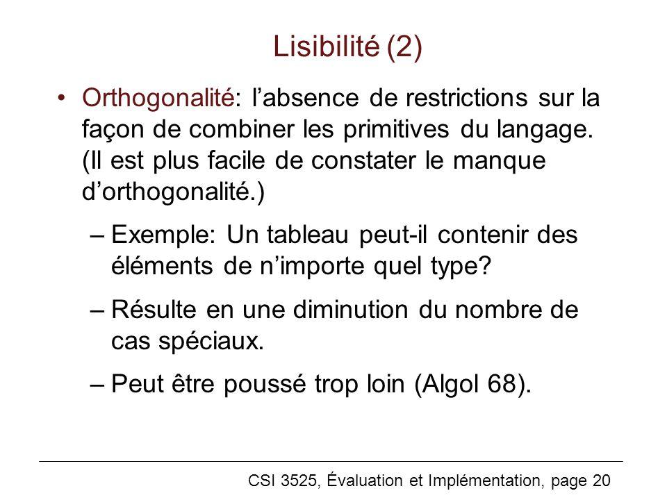CSI 3525, Évaluation et Implémentation, page 20 Lisibilité (2) Orthogonalité: labsence de restrictions sur la façon de combiner les primitives du langage.