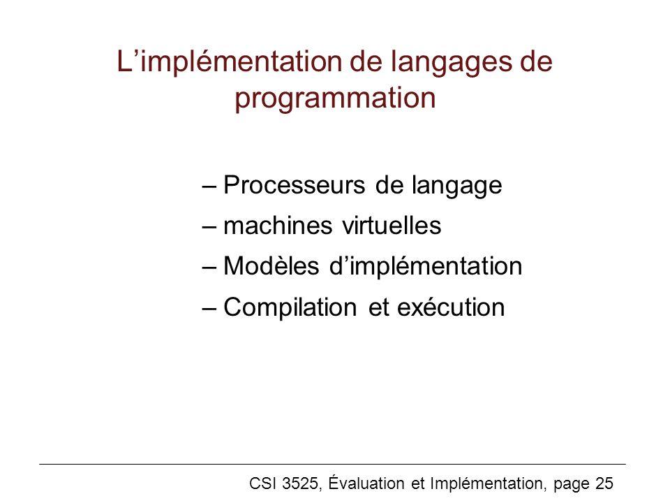 CSI 3525, Évaluation et Implémentation, page 25 Limplémentation de langages de programmation –Processeurs de langage –machines virtuelles –Modèles dimplémentation –Compilation et exécution