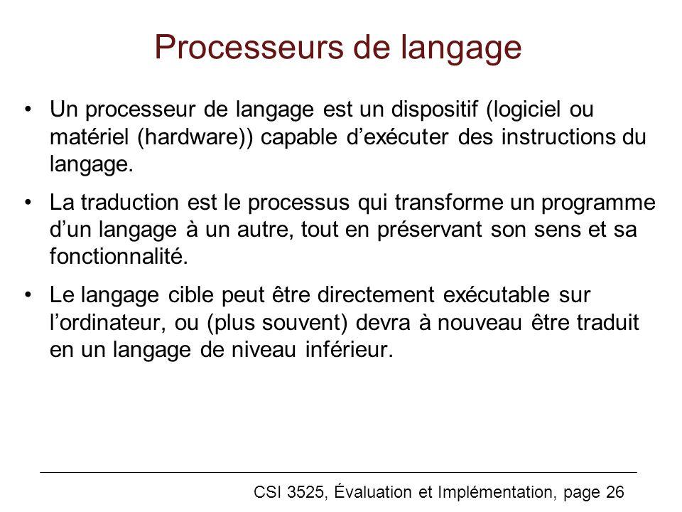 CSI 3525, Évaluation et Implémentation, page 26 Processeurs de langage Un processeur de langage est un dispositif (logiciel ou matériel (hardware)) capable dexécuter des instructions du langage.