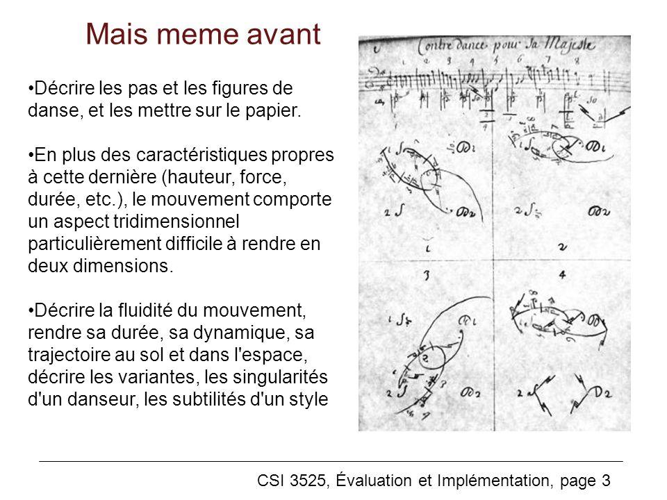 Mais meme avant CSI 3525, Évaluation et Implémentation, page 3 Décrire les pas et les figures de danse, et les mettre sur le papier.
