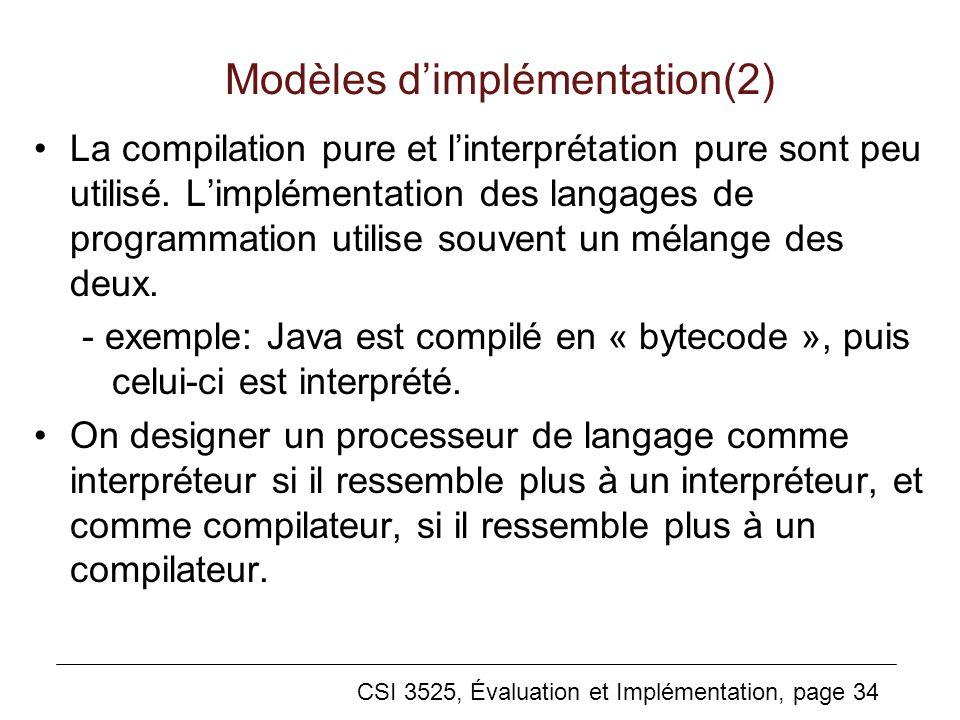 CSI 3525, Évaluation et Implémentation, page 34 Modèles dimplémentation(2) La compilation pure et linterprétation pure sont peu utilisé.