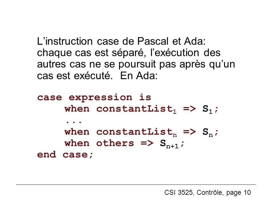 CSI 3525, Contrôle, page 10 Linstruction case de Pascal et Ada: chaque cas est séparé, lexécution des autres cas ne se poursuit pas après quun cas est