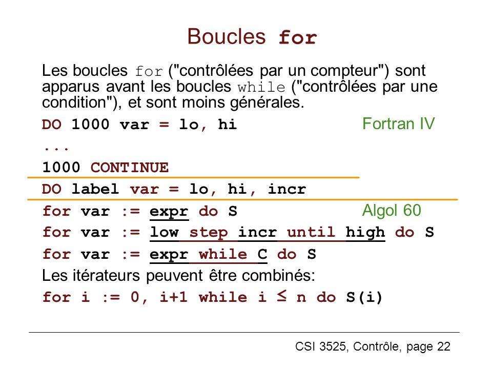 CSI 3525, Contrôle, page 22 Boucles for Les boucles for (