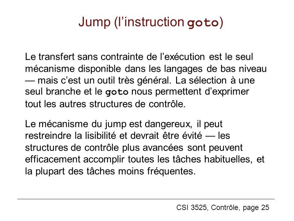 CSI 3525, Contrôle, page 25 Jump (linstruction goto ) Le transfert sans contrainte de lexécution est le seul mécanisme disponible dans les langages de