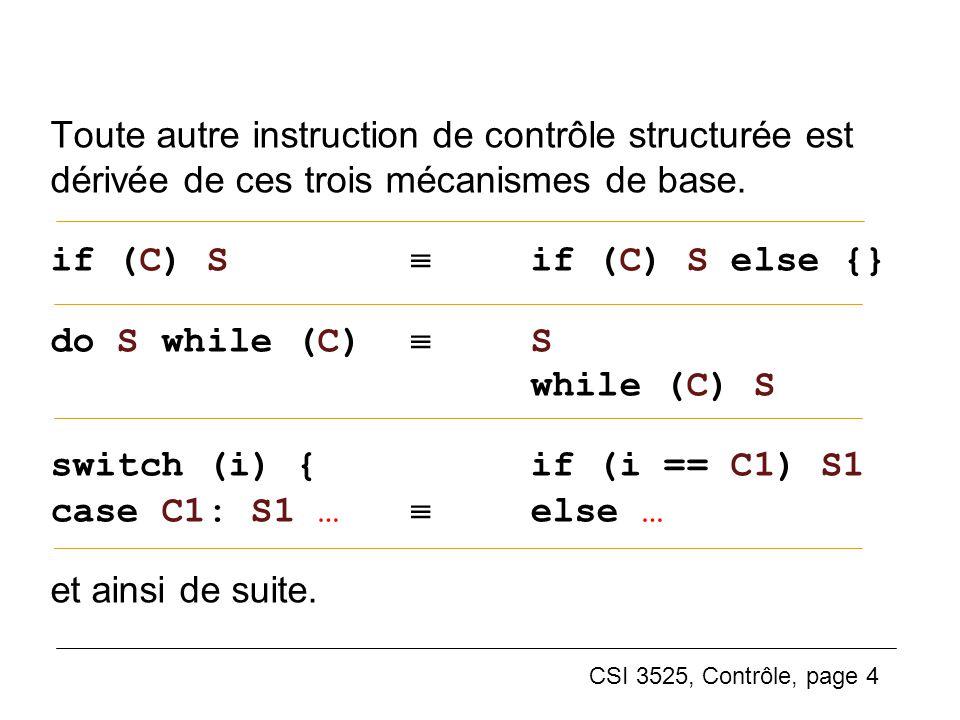 CSI 3525, Contrôle, page 4 Toute autre instruction de contrôle structurée est dérivée de ces trois mécanismes de base. if (C) S if (C) S else {} do S