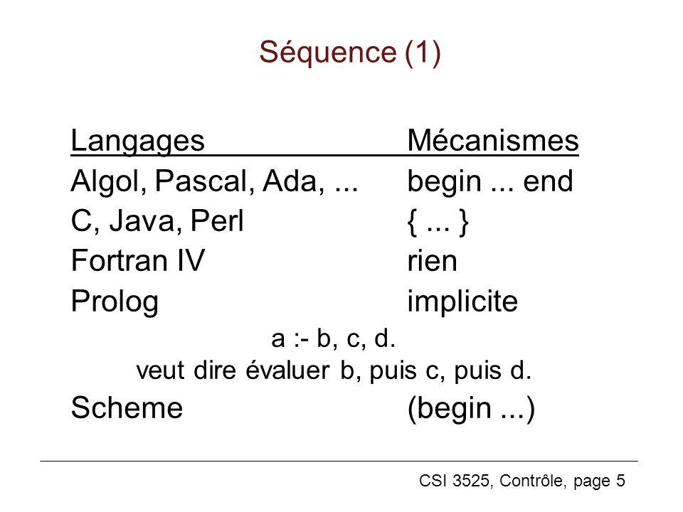 CSI 3525, Contrôle, page 5 Séquence (1) LangagesMécanismes Algol, Pascal, Ada,...begin... end C, Java, Perl{... } Fortran IVrien Prologimplicite a :-