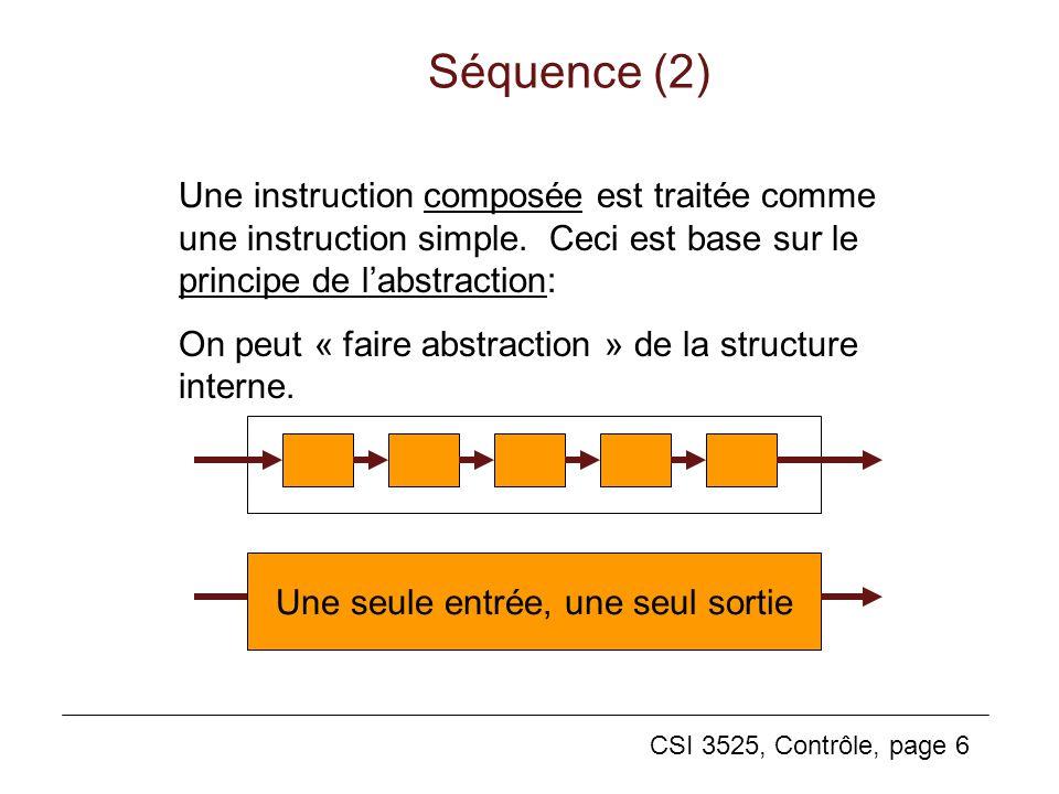 CSI 3525, Contrôle, page 6 Séquence (2) Une seule entrée, une seul sortie Une instruction composée est traitée comme une instruction simple. Ceci est