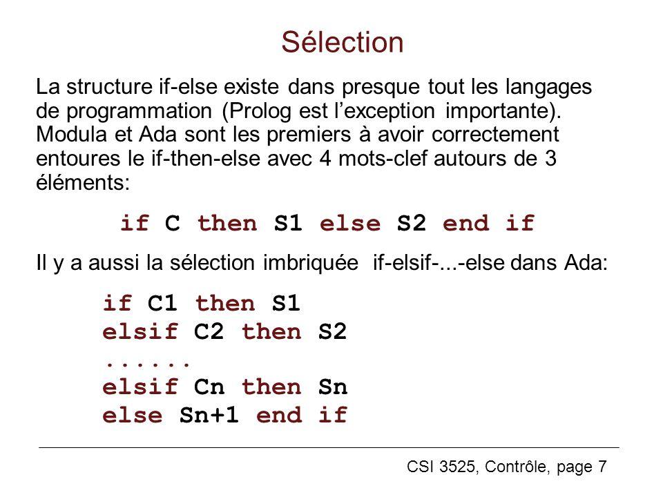 CSI 3525, Contrôle, page 7 Sélection La structure if-else existe dans presque tout les langages de programmation (Prolog est lexception importante). M