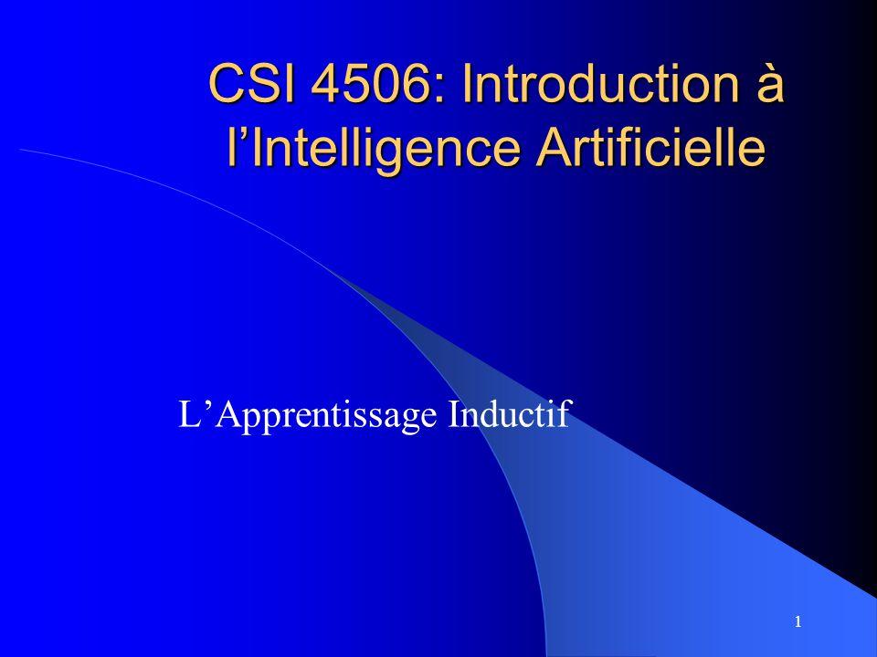 1 CSI 4506: Introduction à lIntelligence Artificielle LApprentissage Inductif