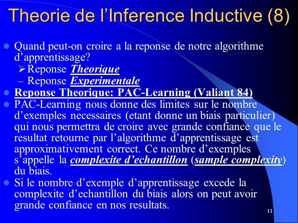 11 Theorie de lInference Inductive (8) Quand peut-on croire a la reponse de notre algorithme dapprentissage? Reponse Theorique – Reponse Experimentale