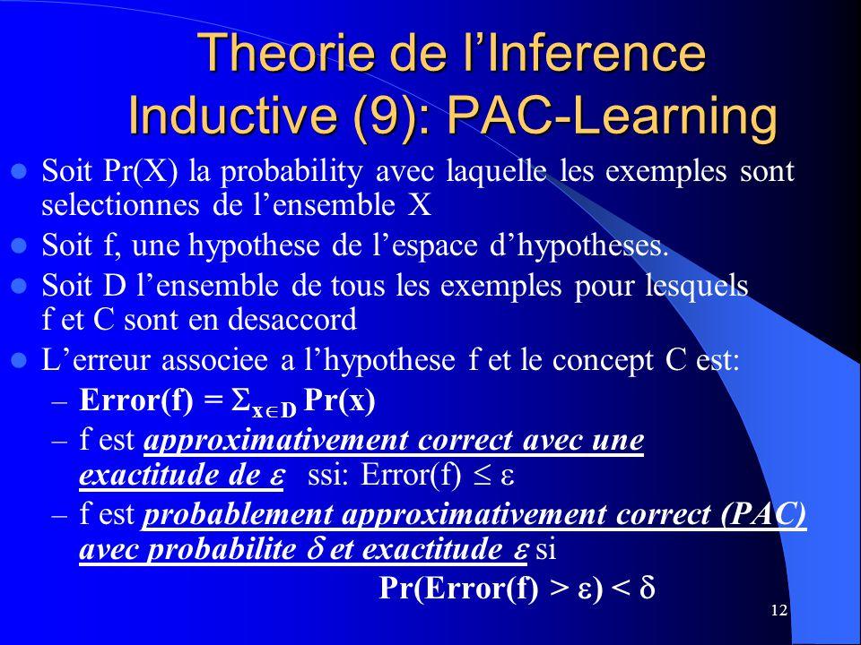 12 Theorie de lInference Inductive (9): PAC-Learning Soit Pr(X) la probability avec laquelle les exemples sont selectionnes de lensemble X Soit f, une