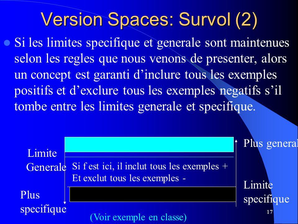 17 Version Spaces: Survol (2) Si les limites specifique et generale sont maintenues selon les regles que nous venons de presenter, alors un concept es