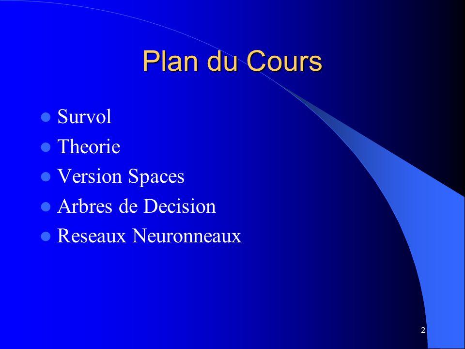 2 Plan du Cours Survol Theorie Version Spaces Arbres de Decision Reseaux Neuronneaux