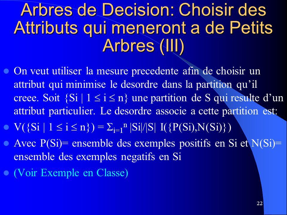 22 Arbres de Decision: Choisir des Attributs qui meneront a de Petits Arbres (III) On veut utiliser la mesure precedente afin de choisir un attribut q