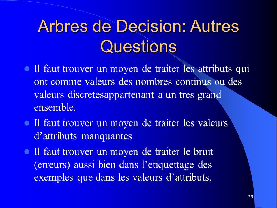 23 Arbres de Decision: Autres Questions Il faut trouver un moyen de traiter les attributs qui ont comme valeurs des nombres continus ou des valeurs di