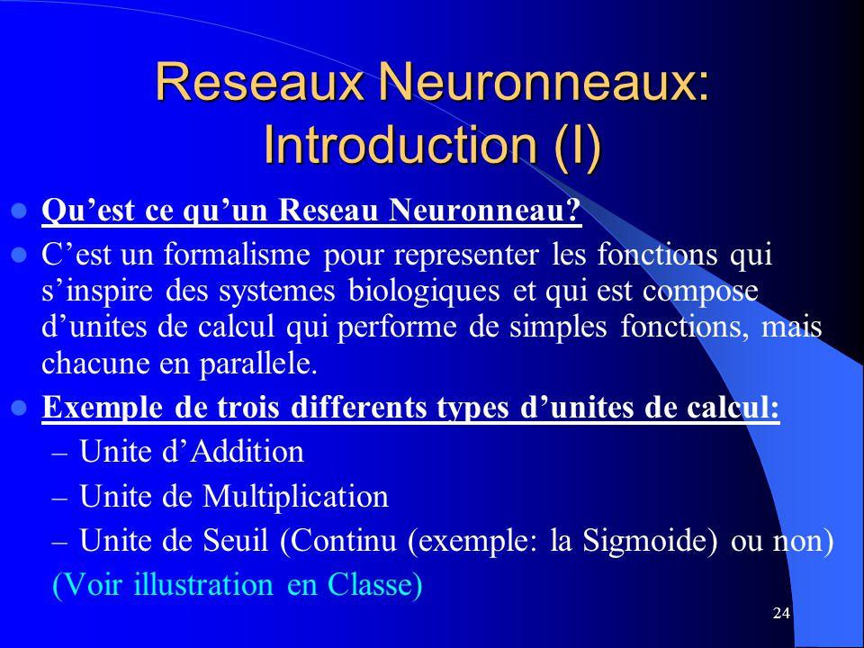 24 Reseaux Neuronneaux: Introduction (I) Quest ce quun Reseau Neuronneau? Cest un formalisme pour representer les fonctions qui sinspire des systemes