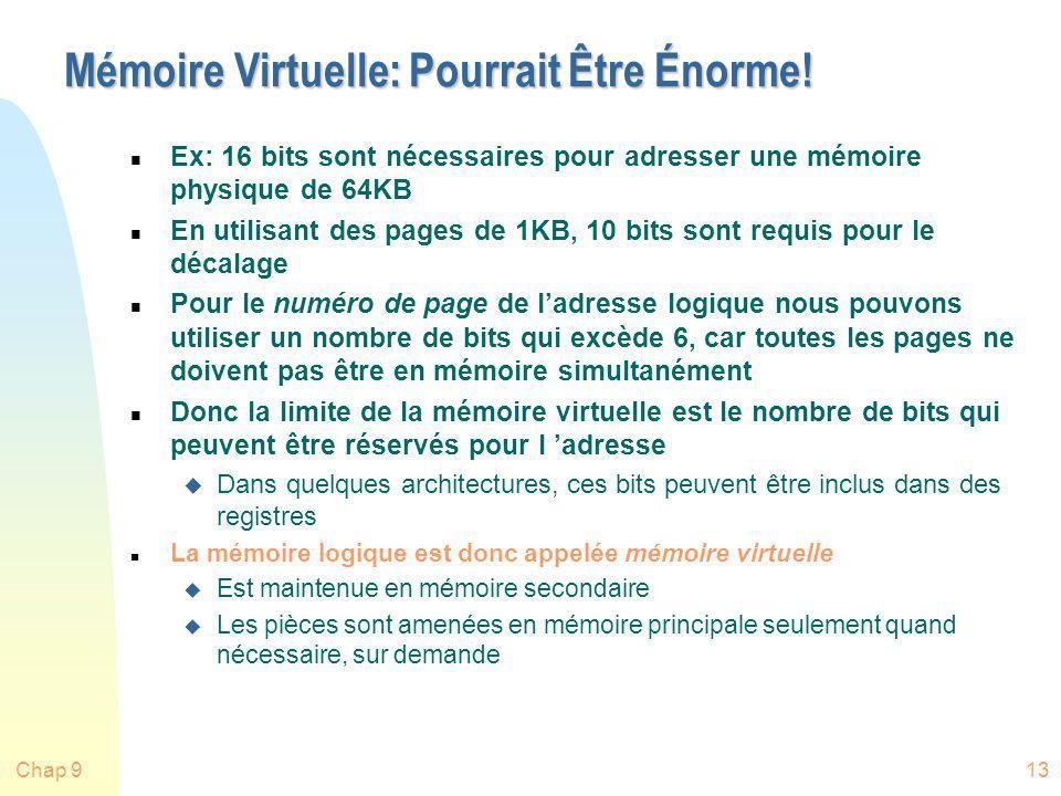Chap 913 Mémoire Virtuelle: Pourrait Être Énorme! n Ex: 16 bits sont nécessaires pour adresser une mémoire physique de 64KB n En utilisant des pages d