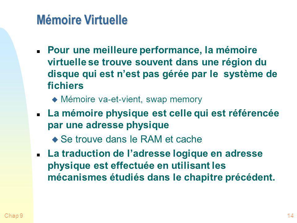 Chap 914 Mémoire Virtuelle n Pour une meilleure performance, la mémoire virtuelle se trouve souvent dans une région du disque qui est nest pas gérée p
