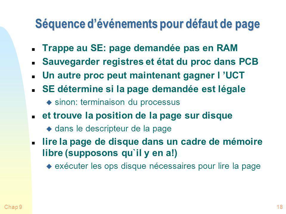 Chap 918 Séquence dévénements pour défaut de page n Trappe au SE: page demandée pas en RAM n Sauvegarder registres et état du proc dans PCB n Un autre
