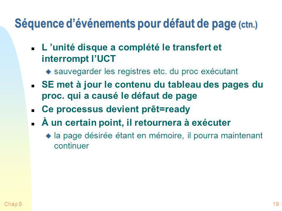 Chap 919 Séquence dévénements pour défaut de page (ctn.) n L unité disque a complété le transfert et interrompt lUCT u sauvegarder les registres etc.