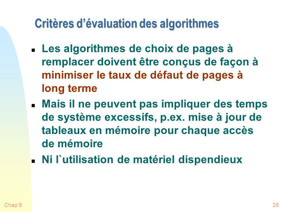 Chap 926 Critères dévaluation des algorithmes n Les algorithmes de choix de pages à remplacer doivent être conçus de façon à minimiser le taux de défa