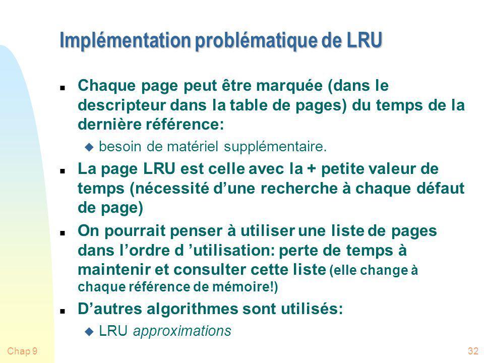 Chap 932 Implémentation problématique de LRU n Chaque page peut être marquée (dans le descripteur dans la table de pages) du temps de la dernière réfé