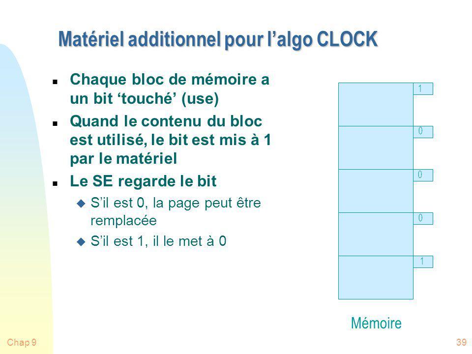 Chap 939 Matériel additionnel pour lalgo CLOCK n Chaque bloc de mémoire a un bit touché (use) n Quand le contenu du bloc est utilisé, le bit est mis à