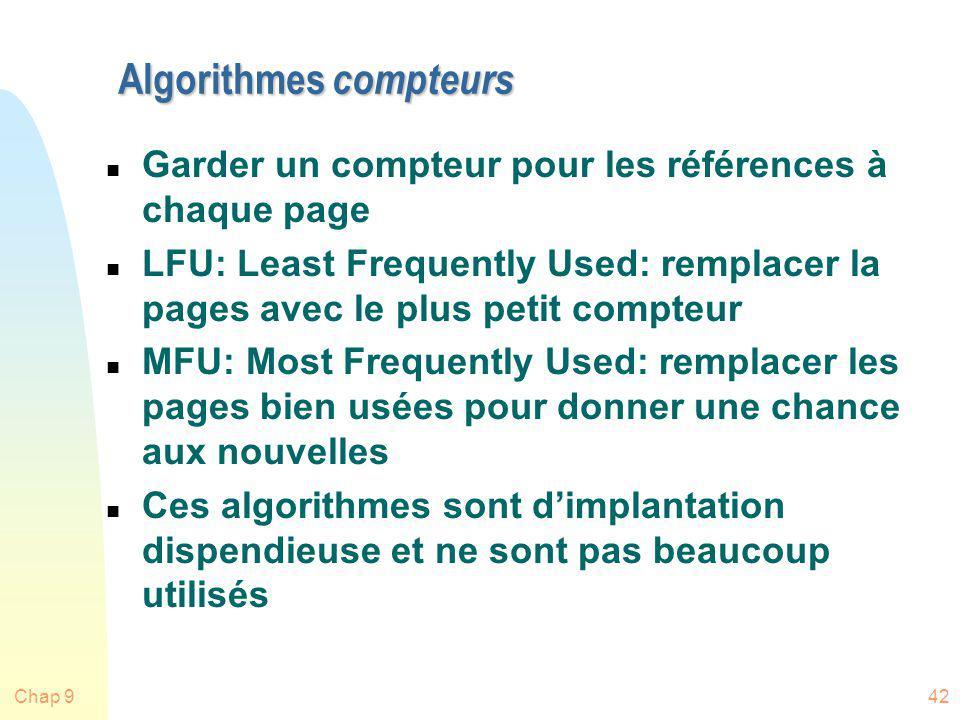 Chap 942 Algorithmes compteurs n Garder un compteur pour les références à chaque page n LFU: Least Frequently Used: remplacer la pages avec le plus pe