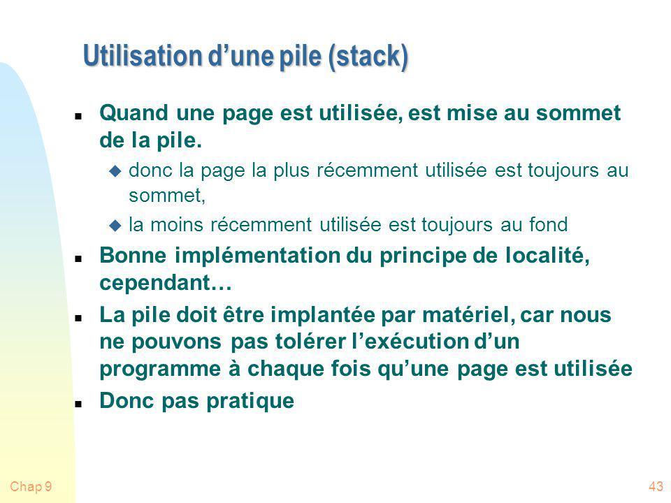 Chap 943 Utilisation dune pile (stack) n Quand une page est utilisée, est mise au sommet de la pile. u donc la page la plus récemment utilisée est tou
