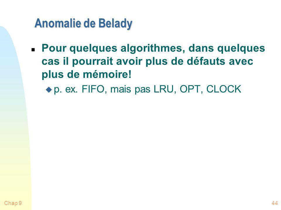 Chap 944 Anomalie de Belady n Pour quelques algorithmes, dans quelques cas il pourrait avoir plus de défauts avec plus de mémoire! u p. ex. FIFO, mais