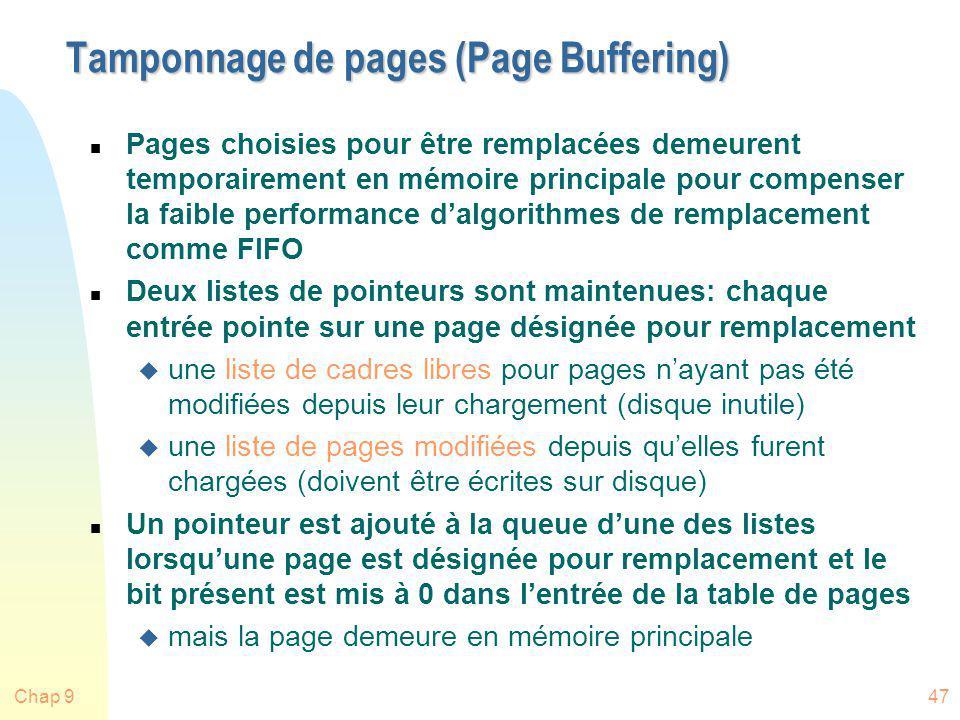 Chap 947 Tamponnage de pages (Page Buffering) n Pages choisies pour être remplacées demeurent temporairement en mémoire principale pour compenser la f