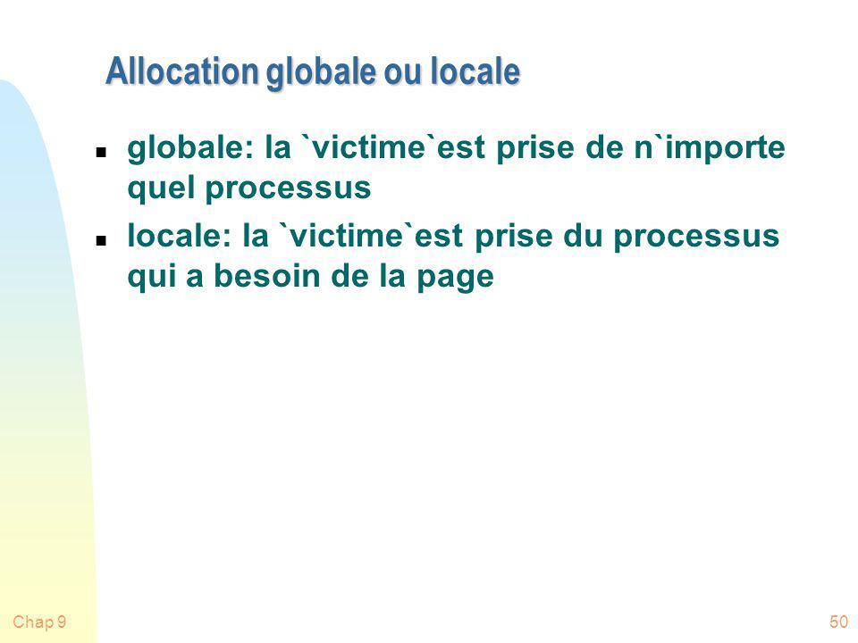 Chap 950 Allocation globale ou locale n globale: la `victime`est prise de n`importe quel processus n locale: la `victime`est prise du processus qui a